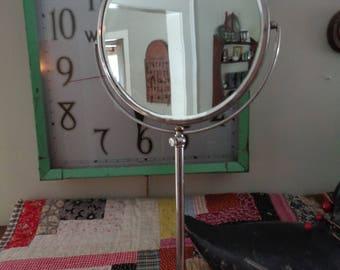 Vintage Pedestal Mirror, Shaving Mirror