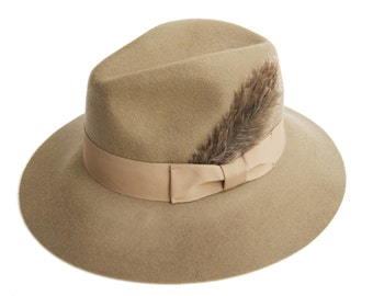 Camel Fedora Hat with Grosgrain Band And a Feather , Womens Wide Brim Felt Hat ,  Womens Hat , Winter Hat  , Millinery Hand Crafted Hat