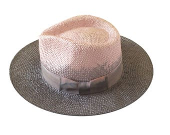 Straw fedora hat for womens and for men , hat , Two tone fedora hat , Straw hat for women , Summer hats , Straw hat , Sun hat , Beach hat