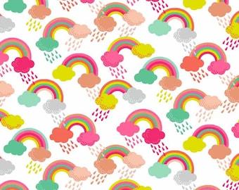 Fat Quarter Fantasy Rainbow White 100% Cotton Quilting Fabric Makower