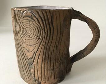 Handmade Ceramic Coffee Mug / wood Grain Faux Bois Blue Cup
