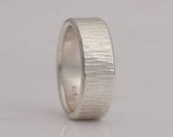 Hammered sterling silver band, 8 mm wide, size 9 1/2 and custom sizes, #743.