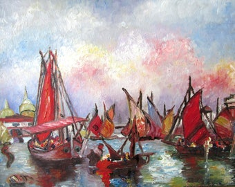 Vintage OOAK oil sailboat harbor painting by E. Engstrom