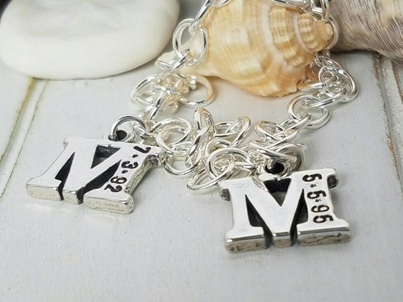 Personalized Mothers Bracelet, 2 Initials Bracelet, Sterling Silver Charm Bracelet, Custom Made, Birthdate Initial, Toggle Bracelet, Gift