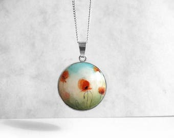 Hand Painted Necklace, Poppies Field Painting, 925 Sterling Silver Bezel Necklace Poppy Fine Art Jewelry, Silver Pendant, Artistic Jewelry