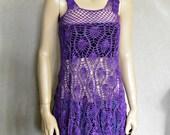 Crochet Dress, Amethyst Color, Boho Dress crochet, Lace Dress, Purple , Crochet Tunic Listing for Cloverr