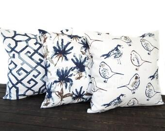 Set of Three Throw Pillow CushionCovers, Decorative Pillow, navy blue brown tan gray white, Regal Blue Slub Canvas