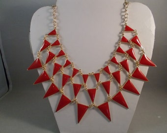 SALE 3 Row Bib Necklace with Red Pendant Beads on a Gold Tone Chain