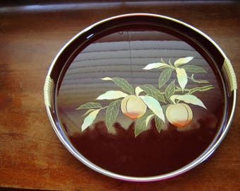 Tray Toyo Japan peach lacquerware tray vintage 13 inch tray wrapped handles dark red gold edge hand painted