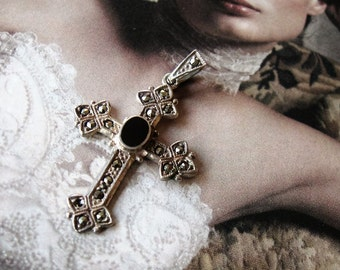 """Vintage 925 Sterling Onyx Marcasite cross pendant, Art Deco Style, 1 3/4"""",  Woman's accessory, Confirmation, gift idea"""
