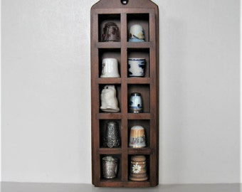 Vintage Thimble Collection with Wooden hanging display case, lot of 10 vintage thimbles, silver, cats, shabby sewing supplies, gift idea