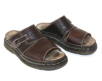 Dr. Martens Sandals . Vintage Brown Leather Doc Martens Slides . Docs Slip Ons . Buckle Detail . Size 9 UK - 10 Mens USA