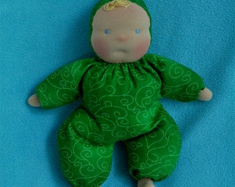 "Fretta's 10"" / 25 cm tall Waldorf Style Floppy Baby. Baby's first Doll. Child safe cloth Baby Doll"