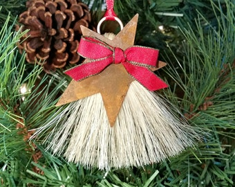 Rustic Primitive Rusty Tin Cutout Star on Horsehair Tassel Christmas Holiday Ornament