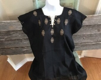 Authentic Mexican Hand Embroidered Black Top Geometric Design (Medium)