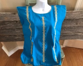 Mexican Embroidered Turquoise Top (Small)