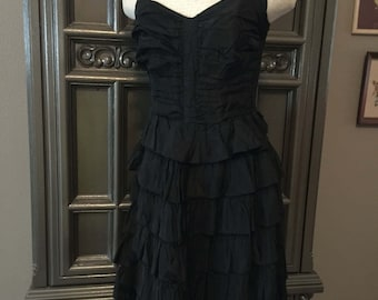 40s Bombshell LBD Ruched Tiered Halter Dress