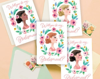 Will You Be My Bridesmaid? Illustrated Cards