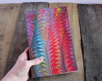Handmade Blank Book - Notebook, Travel Journal, Art Journal - Hand-Marbled Paperback Cover - Item #8000