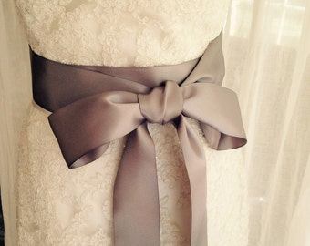 NEW-LOW PRICE-Wedding Sash-Wedding Belt-Bridal Belt-Bridal Sash-cummerbunds-Satin sash-Satin belt-belt-Gray-Grey-Ivory Sash-White Sash-Navy