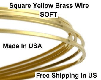 Square Brass Wire 20 Ga (Dead Soft) Yellow brass #260 / Sold By the Feet