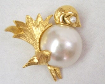 Napier Bird Brooch, Bird Pin, Vintage, 1980's, rosesandbutterflies, Faux Pearl, Gold Toned Metal