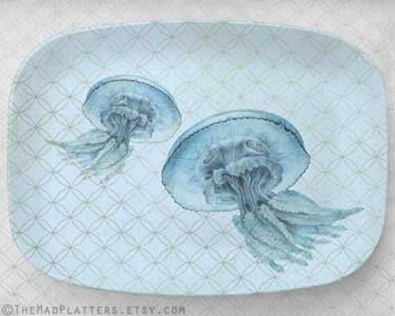 Jellyfish blue melamine platter