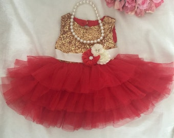 Red Gold Baby Dress, Birthday Dress, Baby Photo Prop, Valentines Day Dress, Baby Pageant Dress, Cake Smash Dress, Wedding Dress