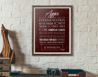 Personalized Texas A&M University Aggies Print or Canvas - Texas Football - Gifts for Aggies Alumni housewarming gift for couple