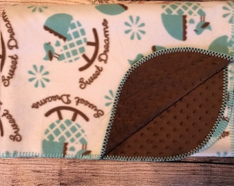 Sweet Dreams, baby boy fleece. Rocking Baby Buggies. Brown minky on back. Blue blanket stitch edge. 44 X 58