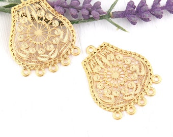 Chandelier earring etsy gold filigree earring necklace connectors chandelier earring components 2 pieces gc mozeypictures Gallery