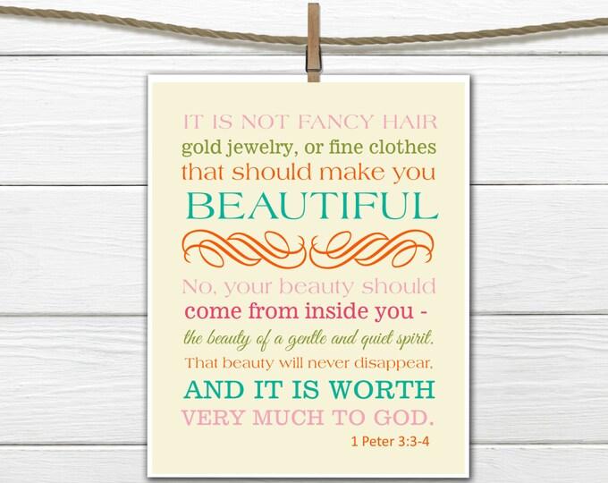 Bible Verse Christian Art  Print 1 Peter 3:3-4 Beauty  PDF Digital Download