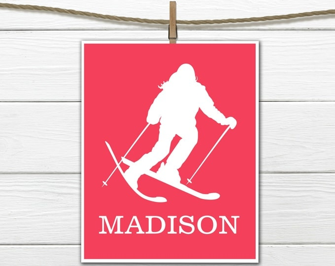Skier   Sports Silhouette- Girl Skiing   - Custom Print -  Personalized