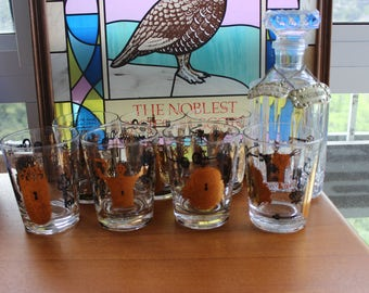 Vintage Lock and Key Lowball Glasses