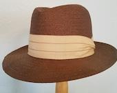 Stylish 1950s Royal Stetson Leghorn Panama hat