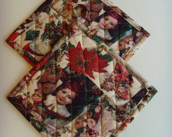 "Set of 2 Quilted Christmas Pot Holders/ 7 1/2"" X 7 1/2"" Potholder or Hot Pads/Nostalgic Christmas Card Print"
