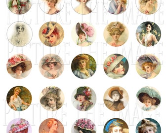 Instant Download Victorian Ladies Hats Vintage Fashion Collage Sheet Jewellery Pendant Broach Cameo Cabochon