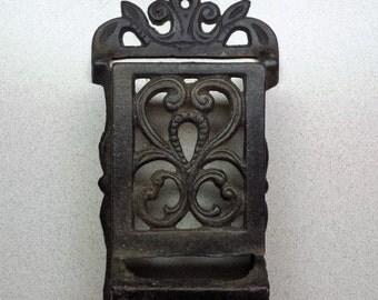Antique Cast Iron Match Safe, Black, Scroll design, Wall Mount