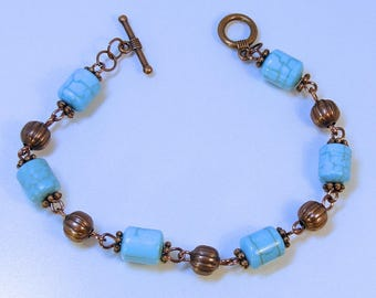 TURQUOISE BARREL COPPER Bracelet