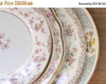 On Sale Vintage Mismatched China Plates Set of 4, Plates for Weddings,  Replacement China, Bridal Luncheons Tea Party, Baby Shower Bridesmai