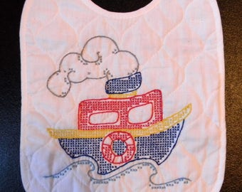 Hand Embroidered Boat Baby Bib