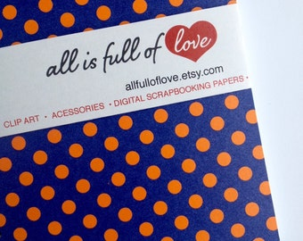Diary Navy Blue notebook with orange polka dots Notebook Handmade Journal A6 spiral notebook Polka dots diary Blue sketch book Recycled