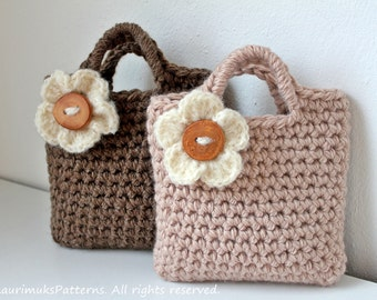 CROCHET PATTERNS for kids, girls flower Purse bag pattern - Listing84