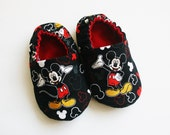 Mickey Mouse baby shoes/slippers.  Cotton and flannel.  Grip tight soles. Made to order.