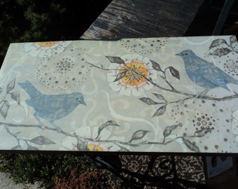 Lovely print on canvas stretcher frame of birds and flowers in Spring