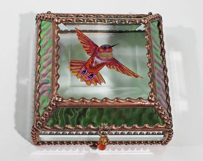 Etched Hand Painted Hummingbird - Treasure Box