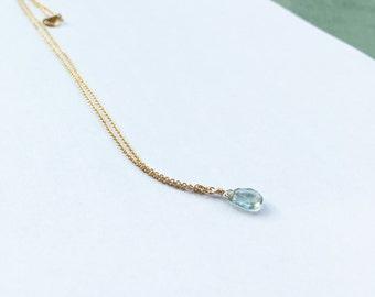 Gold filled moss aquamarine drop necklace
