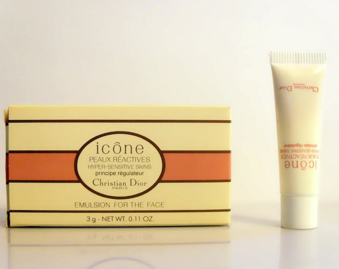 Vintage 1990s Christian Dior Icone Peaux Reactives Hyper Sensitive Skins Principe Regulateur  0.11 oz Cosmetic Skin Care Sample Tube in Box
