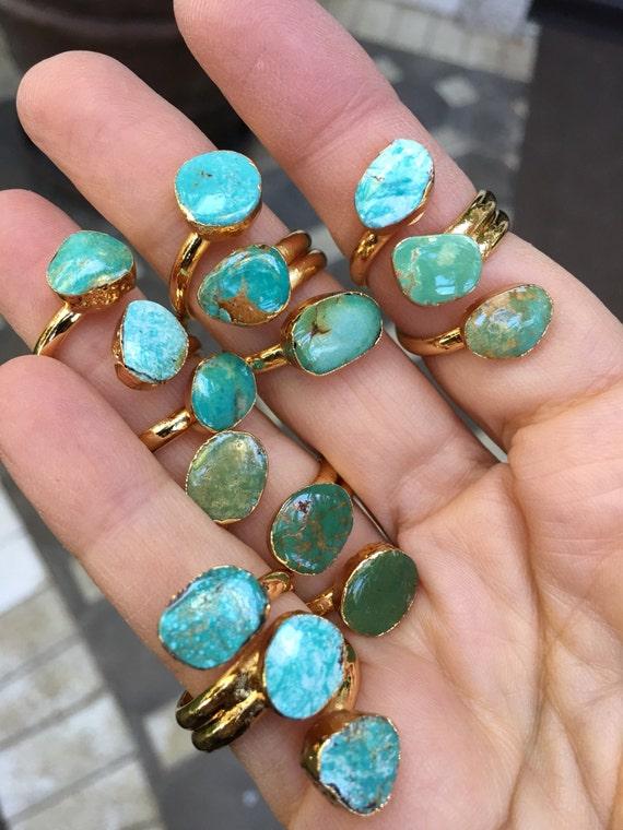 Turquoise gold boho ring