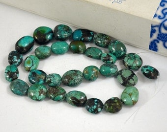 Natural Turquoise Beads Real Turquoise Old Turquoise Beads 14beads Nugget Oval